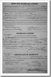 James Martin and Stella Graham marriage documents.