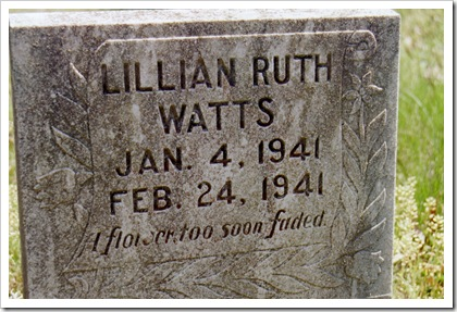 Infant girl Lillian Ruth Watts.