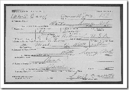 Cecil Watts Draft Card Front