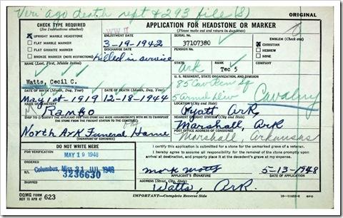 Cecil Watts Headstone Application