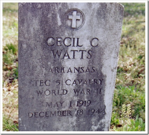 Military marker for Cecil C. Watts, Technician Fifth Grade. Don't know the relationship.