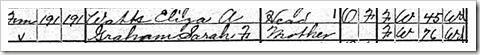 Eliza Watts 1920 Census Detail