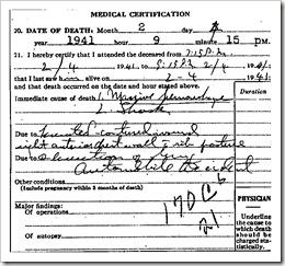 Hayes Death Certificate Excerpt
