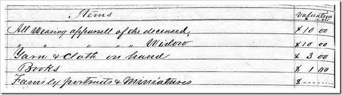 Jesse Scott Inventory 1882