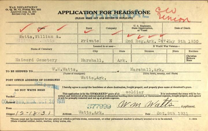 W A Watts Headstone Application