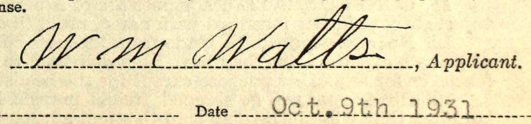 W M Watts signature