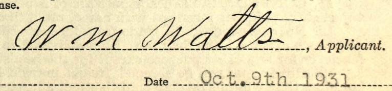 W M Watts signature