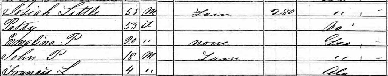 1850 Census Josiah Little